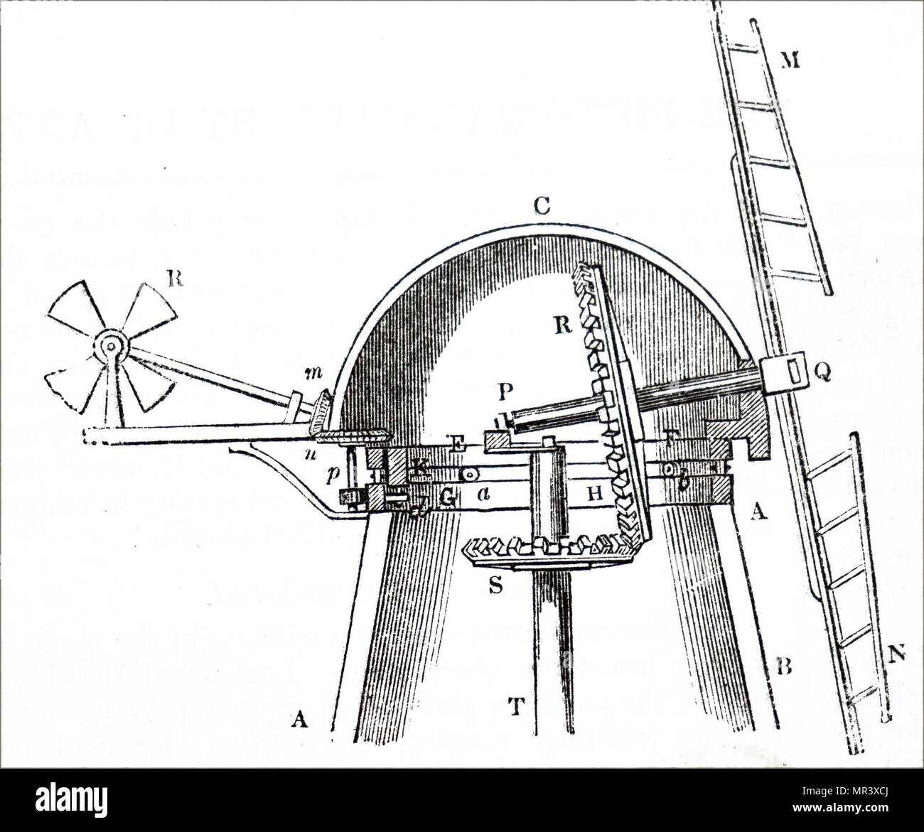 Engraving depicting the gearing at the top of a windmill, showing how wind power caught by the sails is transferred to the driving shaft. Dated 19th century - Stock Image