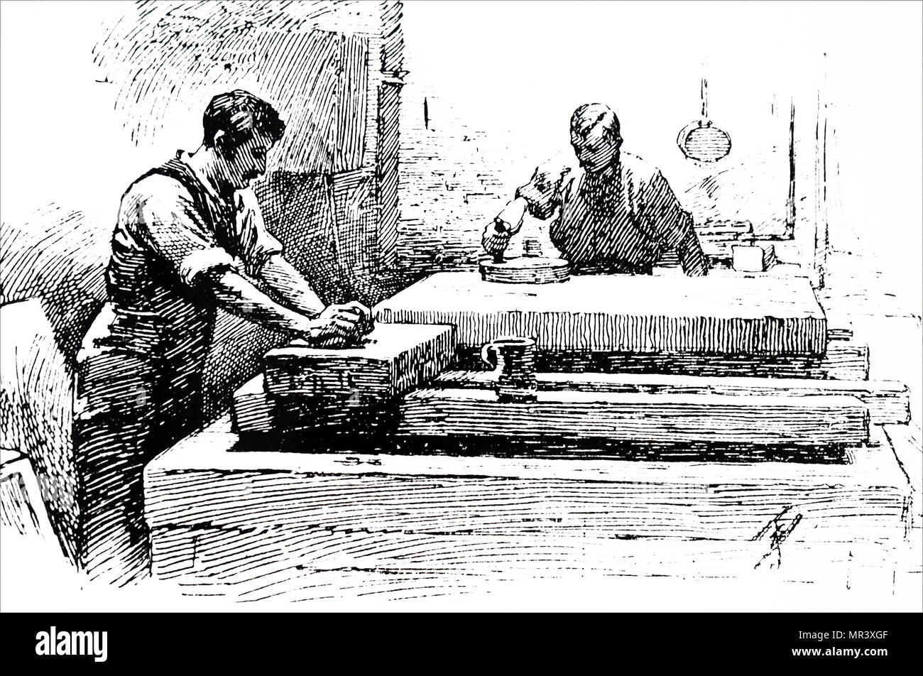 Engraving depicting grinding lithographic stones. Dated 19th century - Stock Image