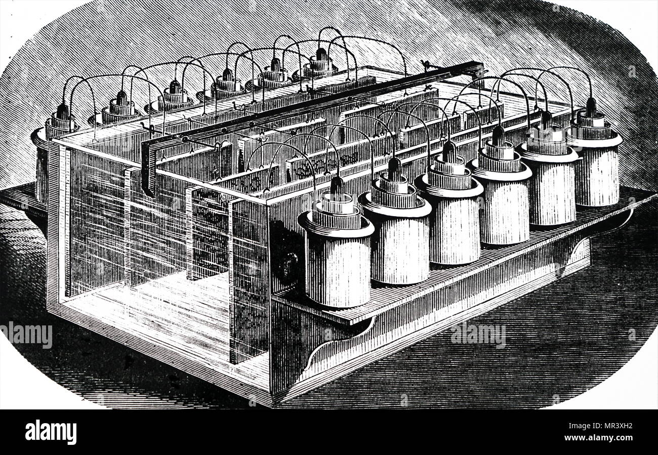 Illustration depicting equipment used for producing woodcuts: an arrangement of batteries, acid bath and plates for producing woodcuts for printing illustrations. Dated  19th century - Stock Image
