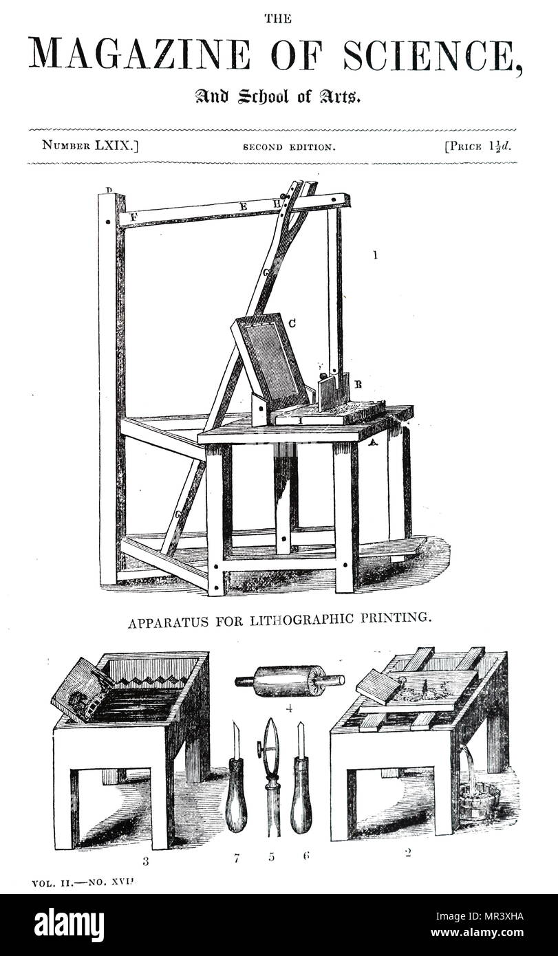 Diagram depicting a lithographic press. 1) Lithographic press. 2) Table for rubbing stones. 3) Etching block. 4) Roller for applying ink. 5) Steel pen for etching straight lines. 6 & 7) Scrapers.  Johann Alois Senefelder  (1771-1834) a German actor and playwright who invented the printing technique of lithography. Dated 19th century - Stock Image