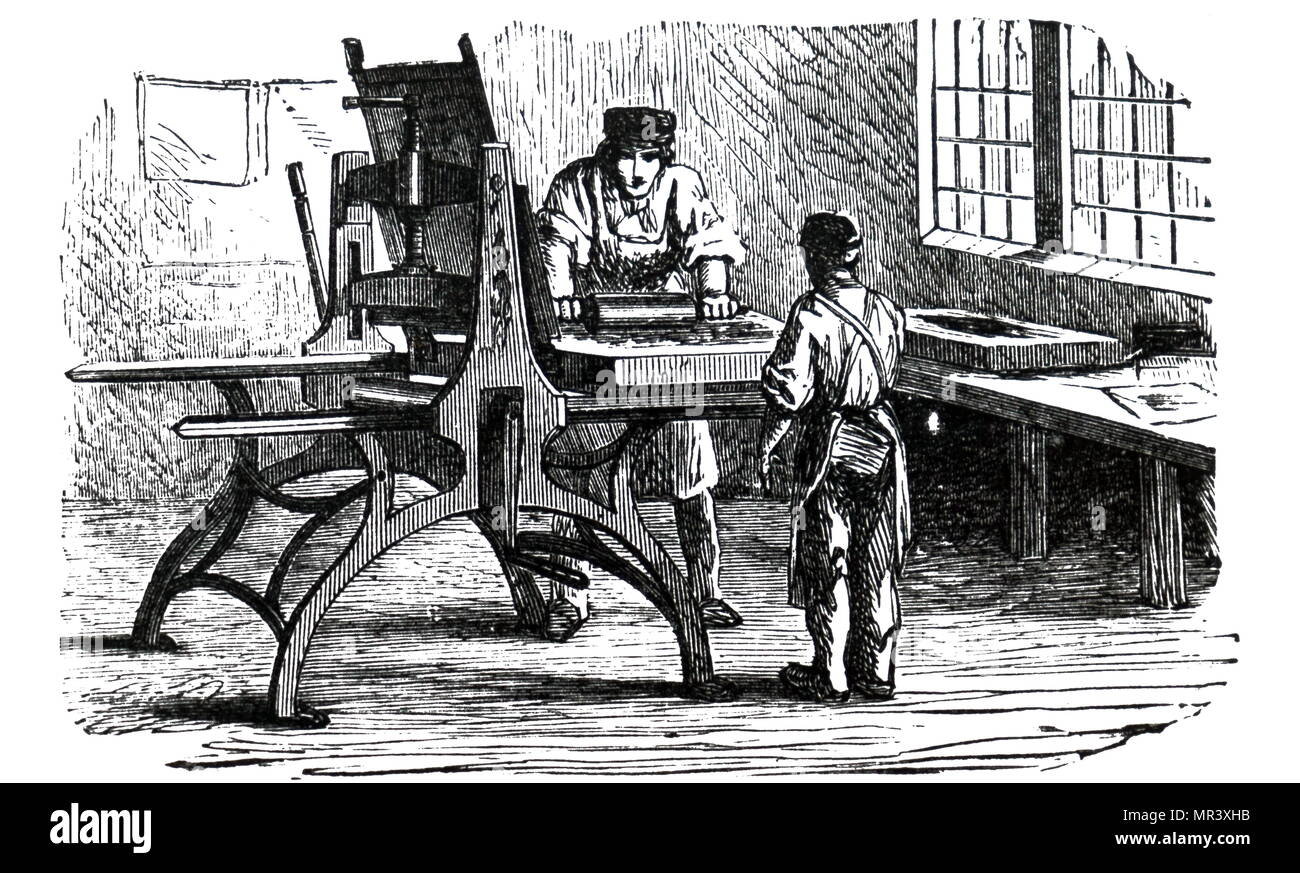 Illustration depicting a lithographic press. Johann Alois Senefelder  (1771-1834) a German actor and playwright who invented the printing technique of lithography. Dated 19th century - Stock Image