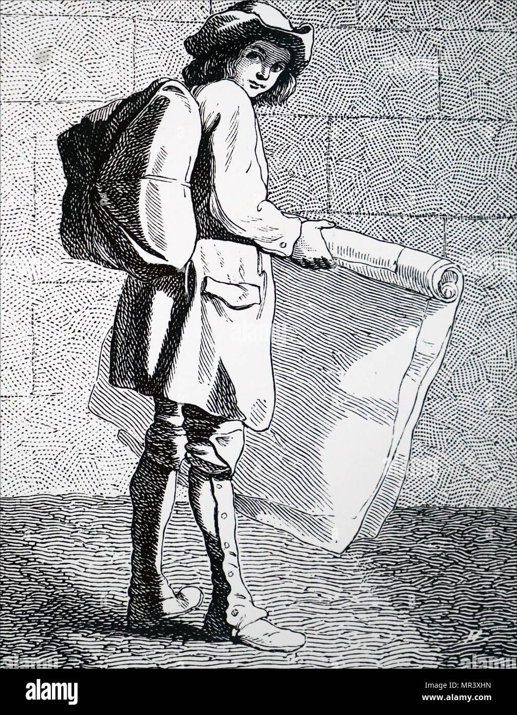 Engraving titled 'The Print Seller'. Dated 18th century - Stock Image