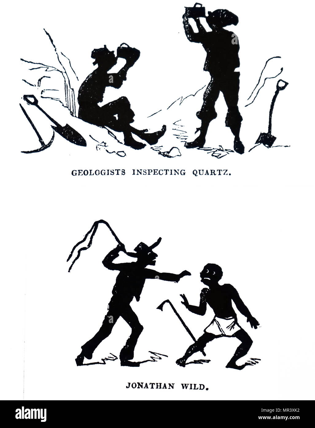 Punch illustrations showing silhouettes of Geologists and a slave owner whipping a slave 1841 - Stock Image