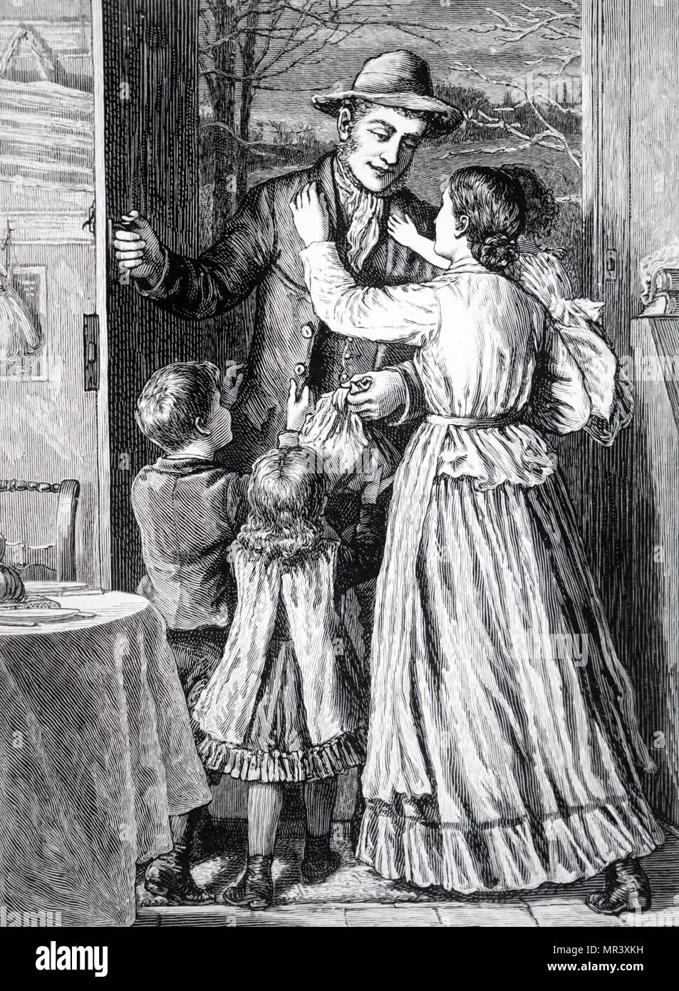 Wood engraving depicting a labourer being greeted by his family as he returns home from work. Dated 19th century - Stock Image