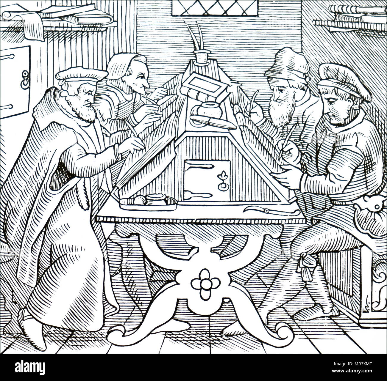 Woodblock print depicting historiographers. Dated 16th century - Stock Image