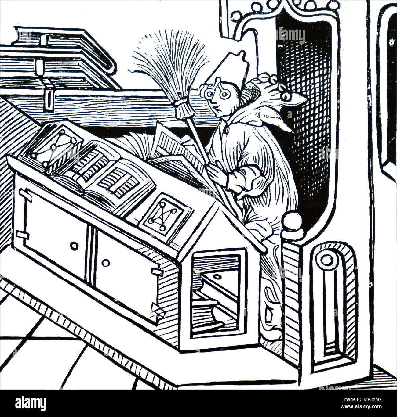 Woodblock print titled 'The Fool among Books'. Dated 15th century - Stock Image