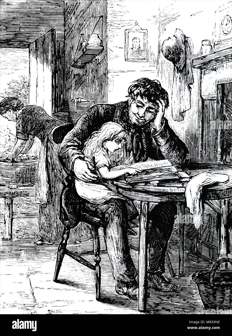 Illustration depicting a father teaching his daughter to read from the family Bible, which was probably the only book in the house. Dated 19th century - Stock Image