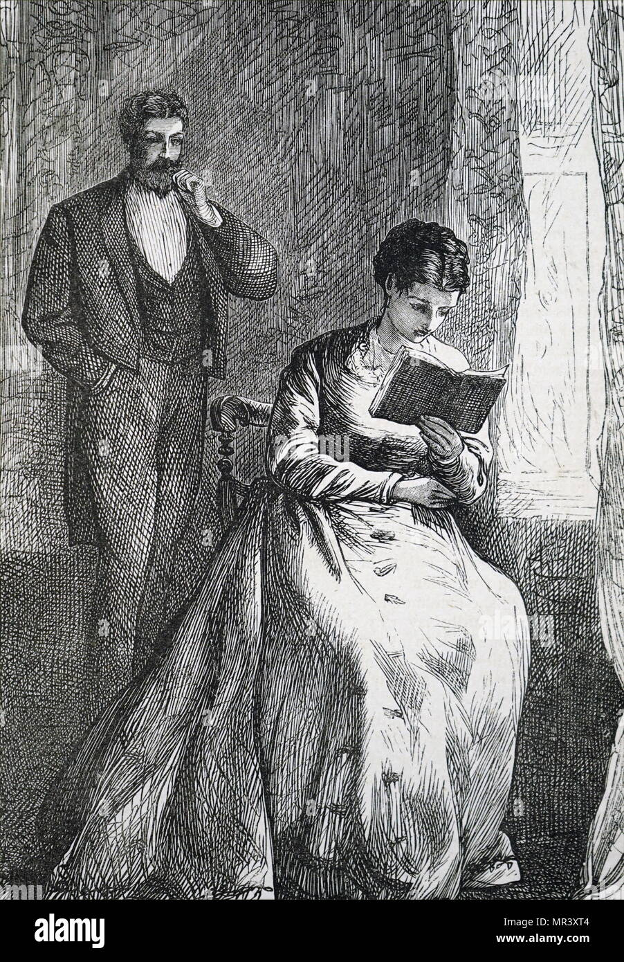 Illustration depicting a young woman reading her book. Illustrated Francis Arthur Foster. Dated 19th century - Stock Image