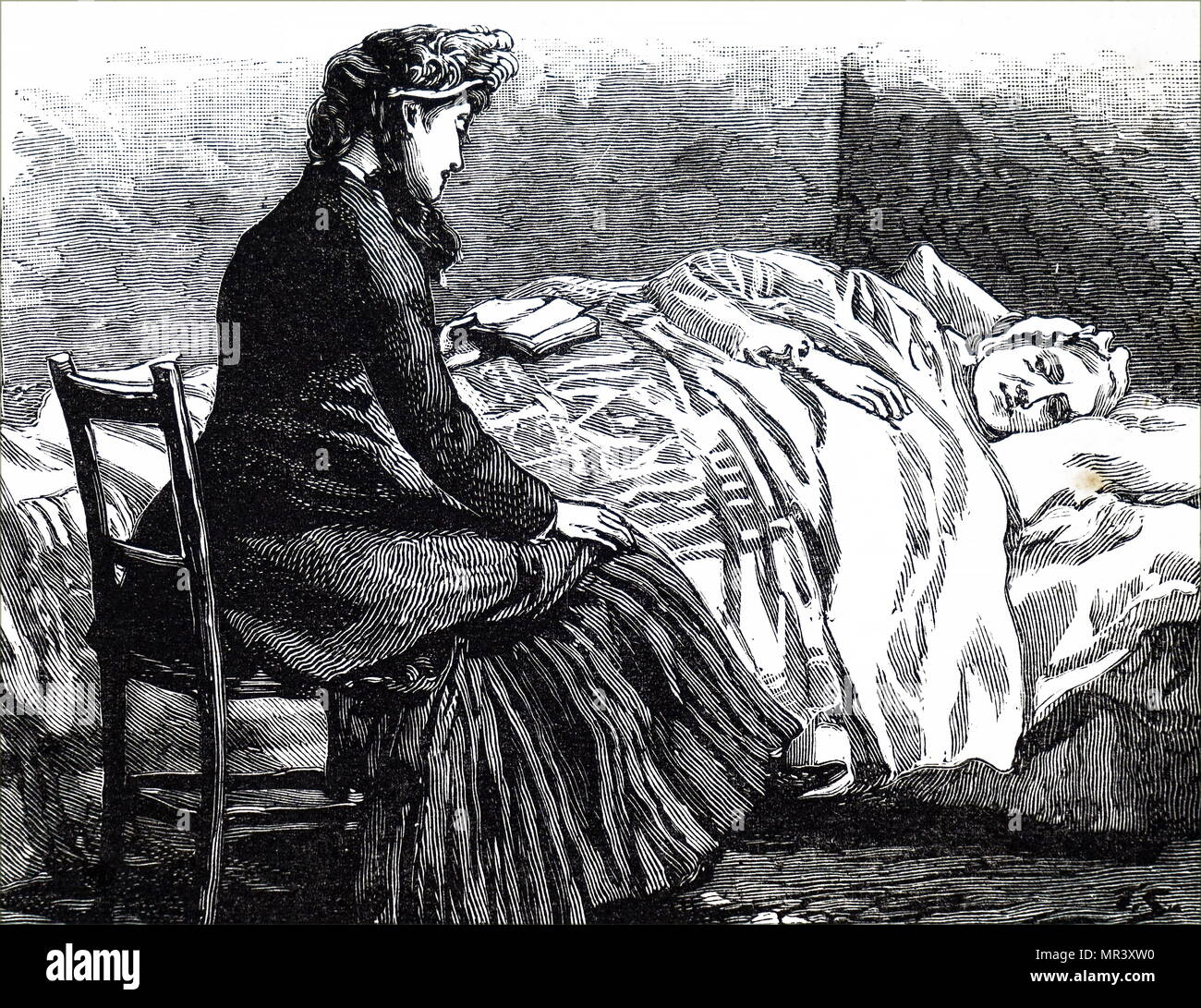 Illustration depicting a woman reading to an old bed-ridden woman. Dated 19th century - Stock Image