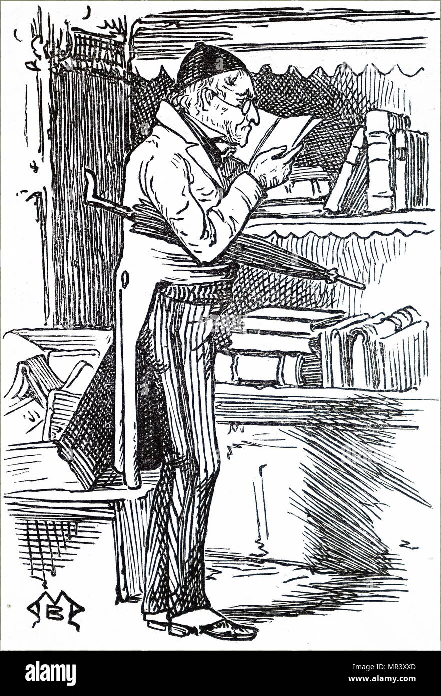Illustration depicting an old man browsing in a second-hand bookshop. Dated 19th century - Stock Image