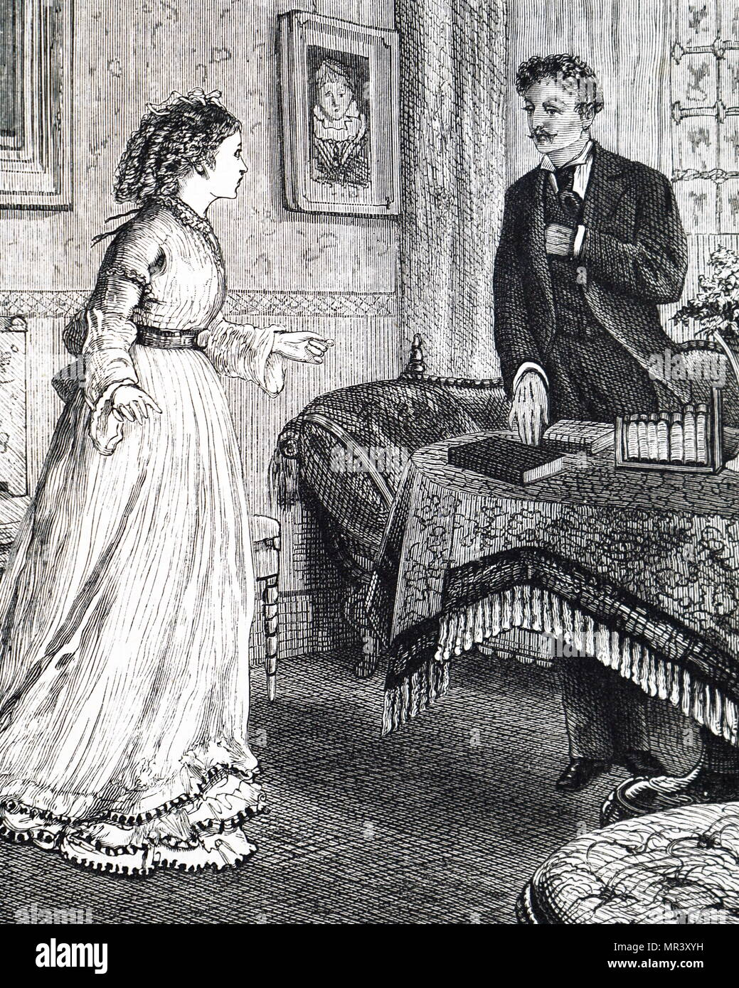 Illustration depicting a telescopic bookcase. Dated 19th century Stock Photo
