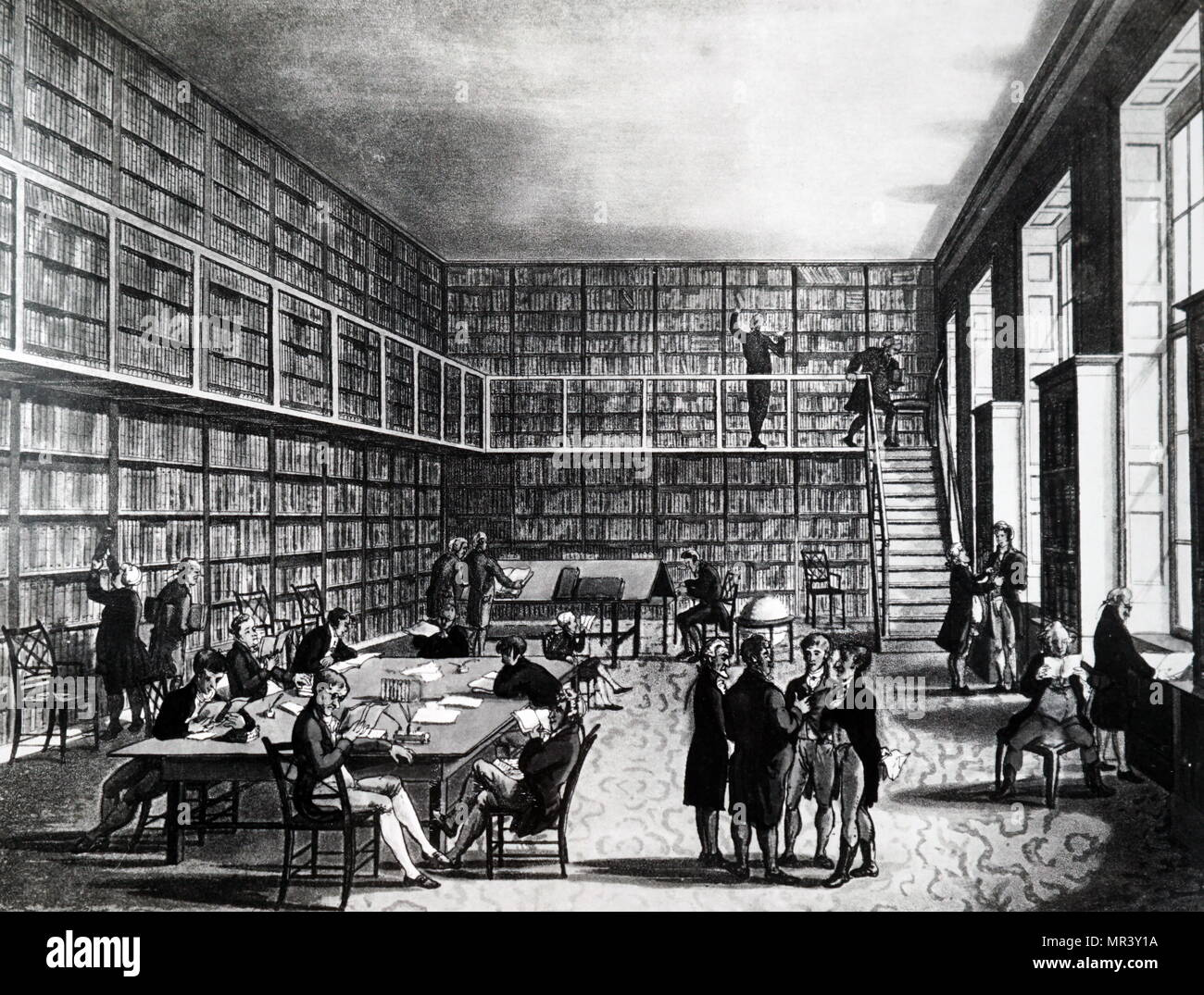 Illustration depicting the Library of the Royal Institution, Albemarle Street. Dated 19th century - Stock Image