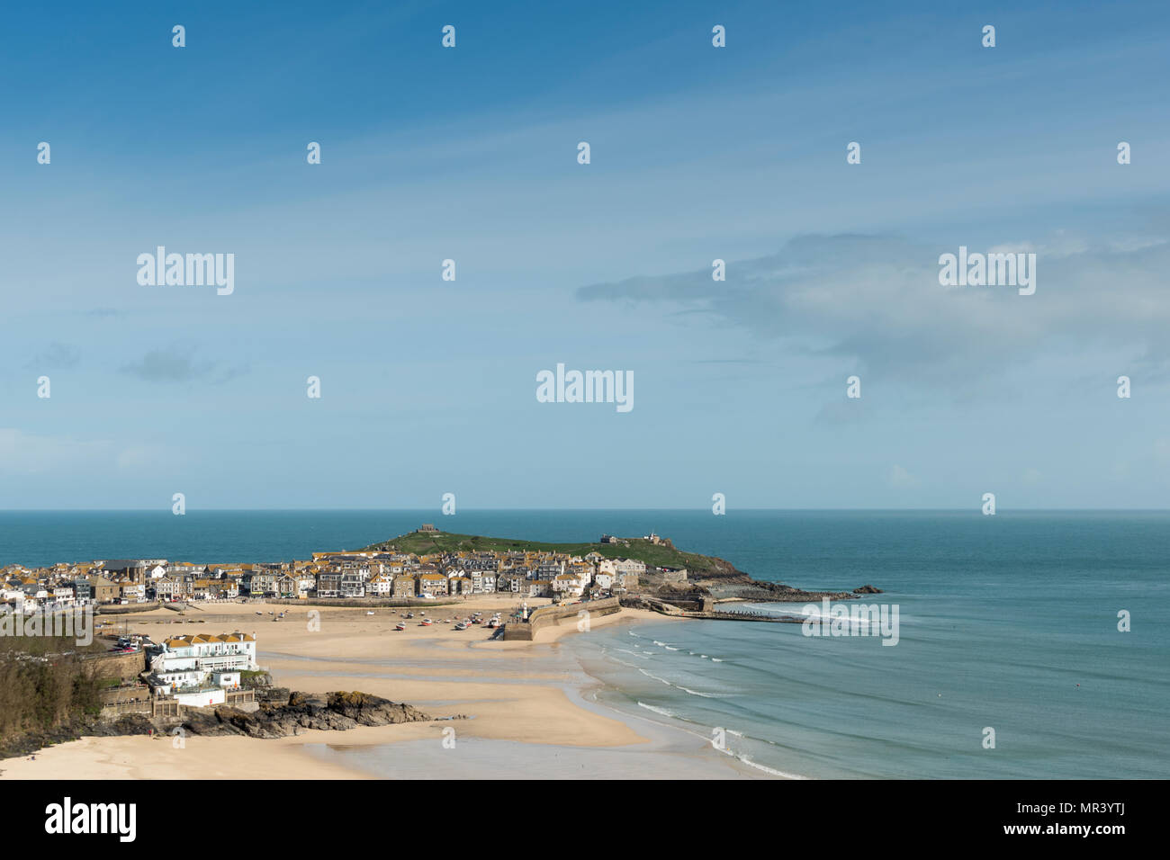 Views from the south west coast path across Porthminster towards St Ives, Cornwall, UK Stock Photo