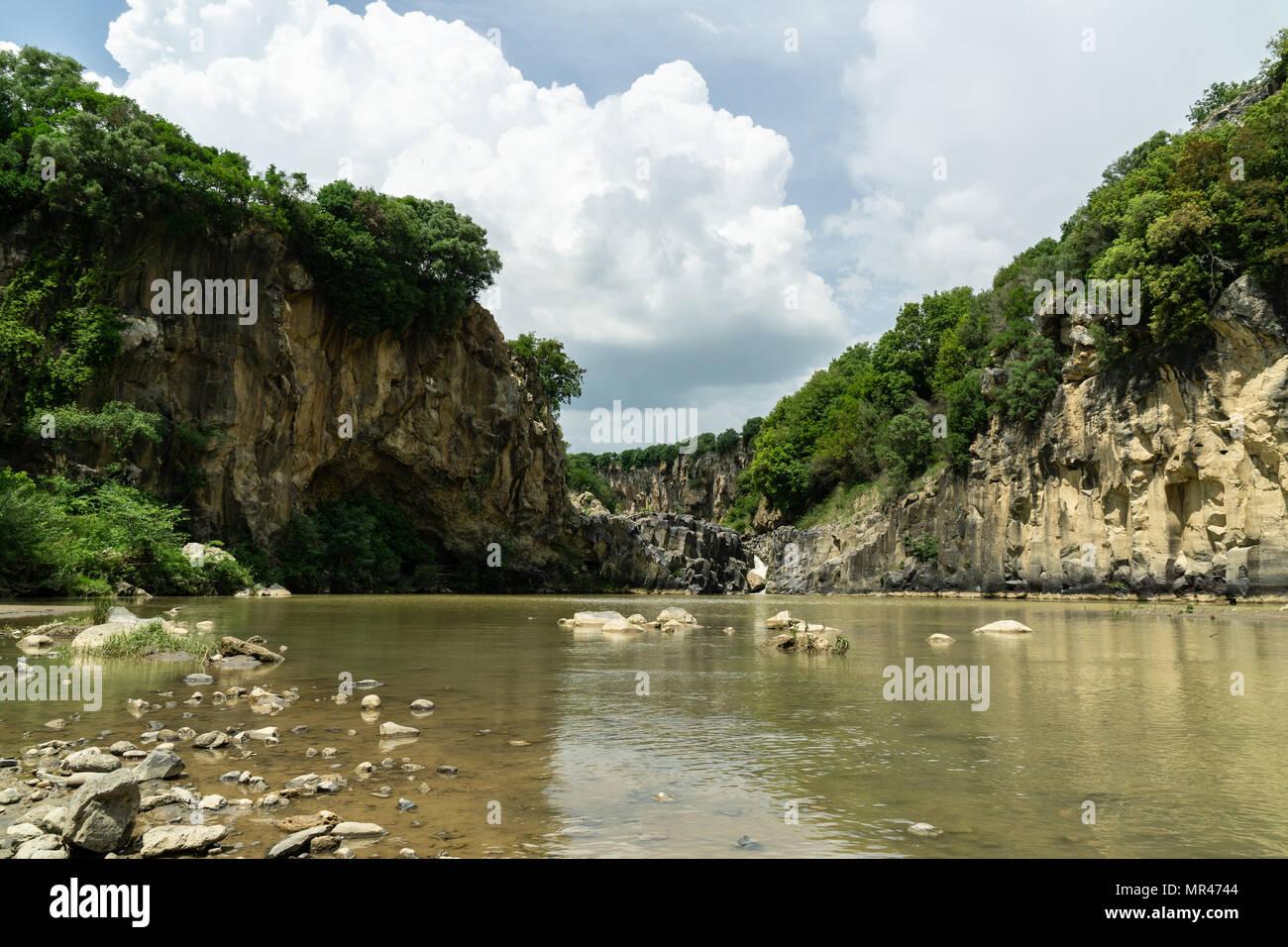 Pellicone lake. Ancient archeologic park of Vulci Lazio - Stock Image