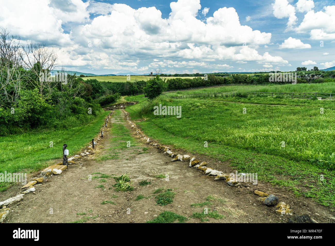 Landscape to the ancient archeologic park of Vulci - Stock Image
