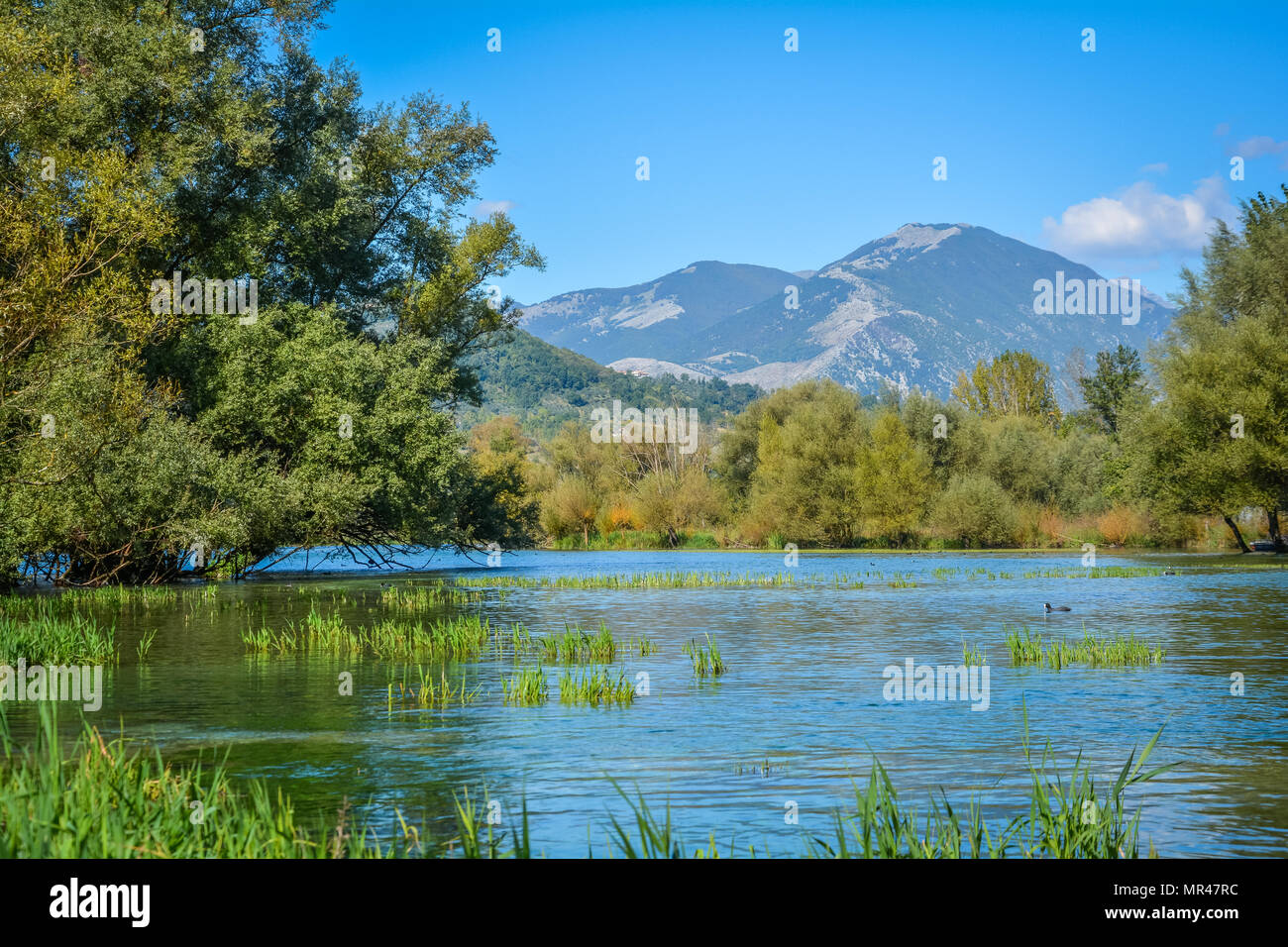 Posta Fibreno Lake Natural Reserve, in the province of Frosinone, Lazio, Italy. - Stock Image