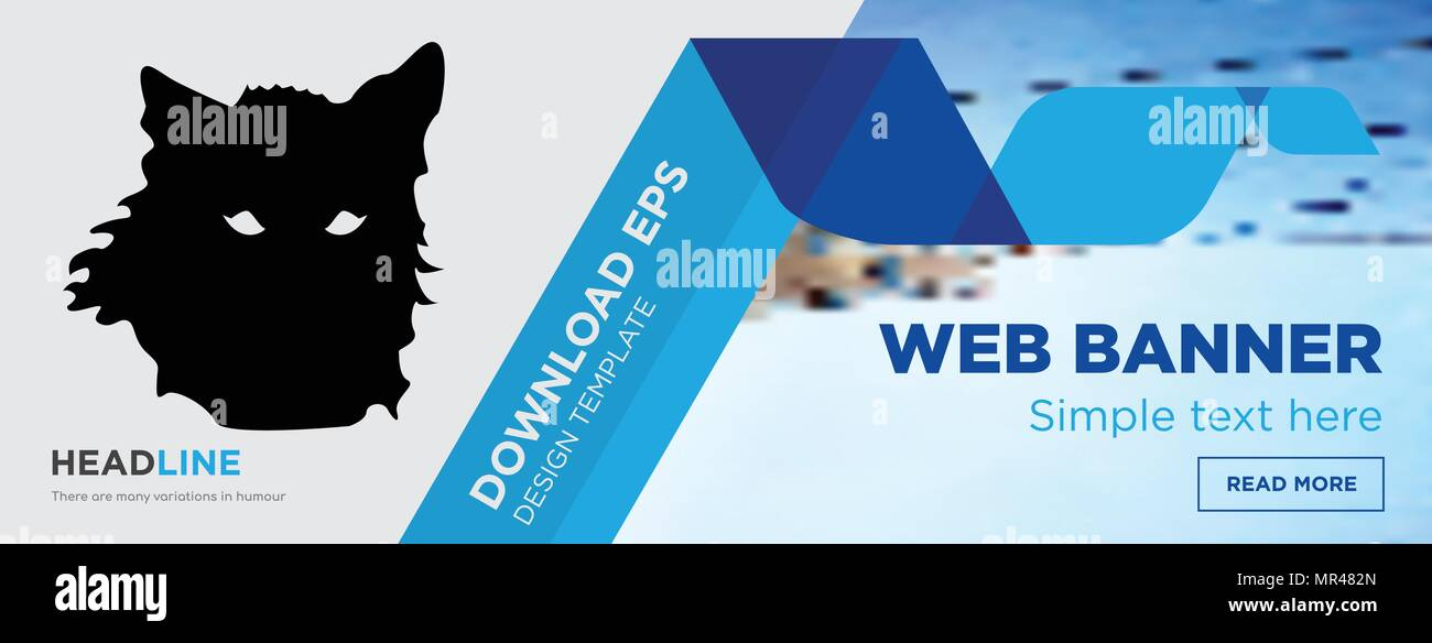 wolf face concept horizontal webpage banner template design on
