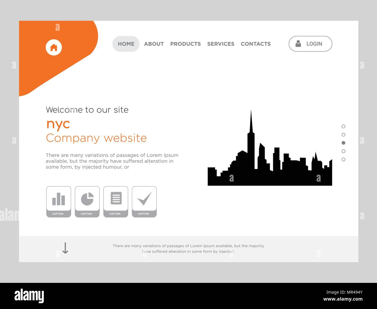 quality one page nyc website template vector eps modern web design