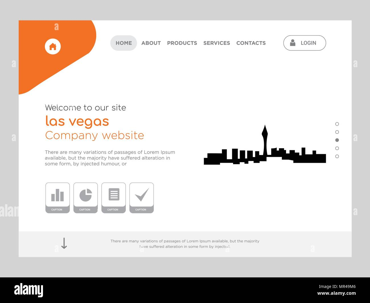 Quality One Page Las Vegas Website Template Vector Eps Modern Web