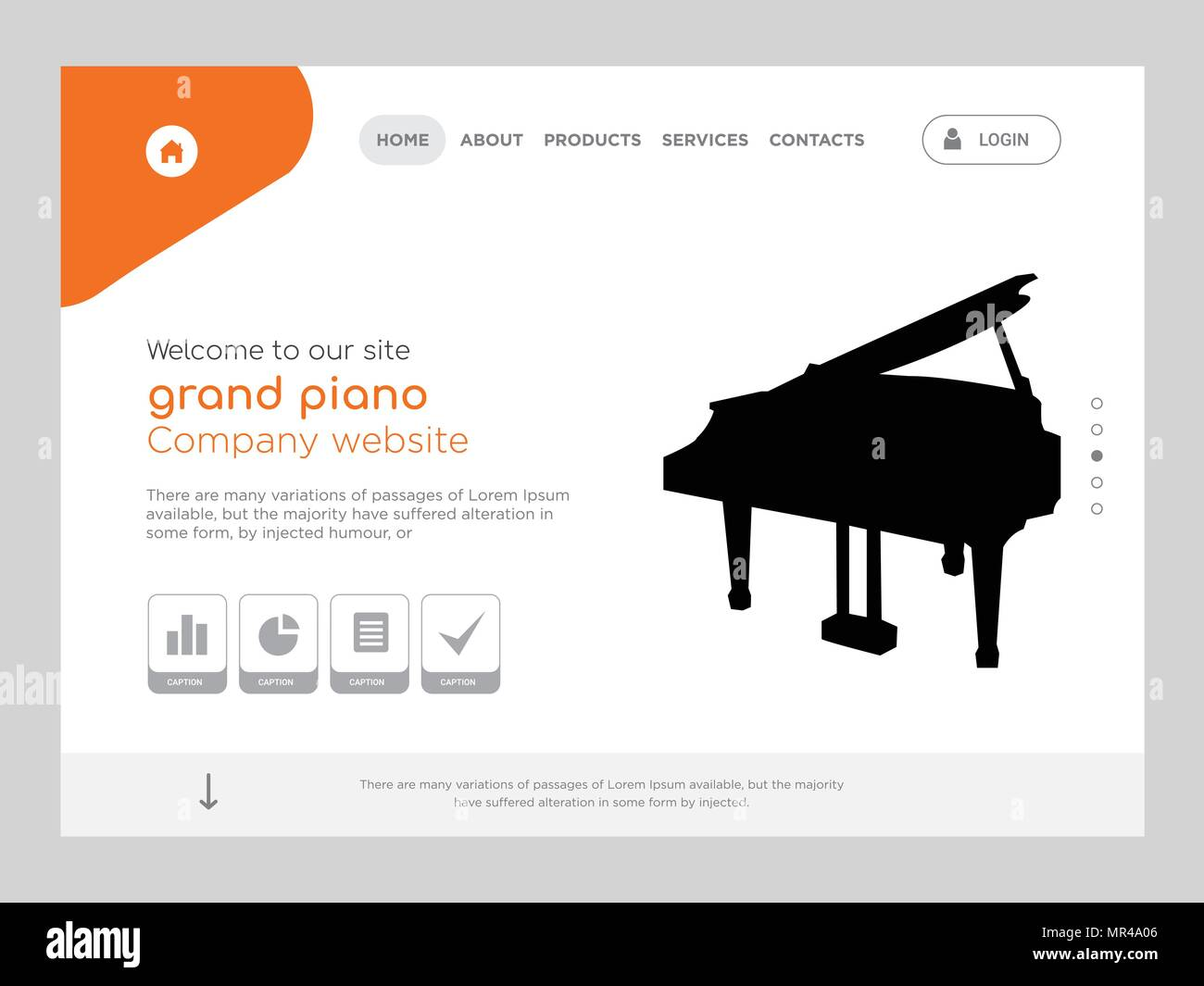 Quality One Page Grand Piano Website Template Vector Eps Modern Web Design With Flat Jpg 1300x1065