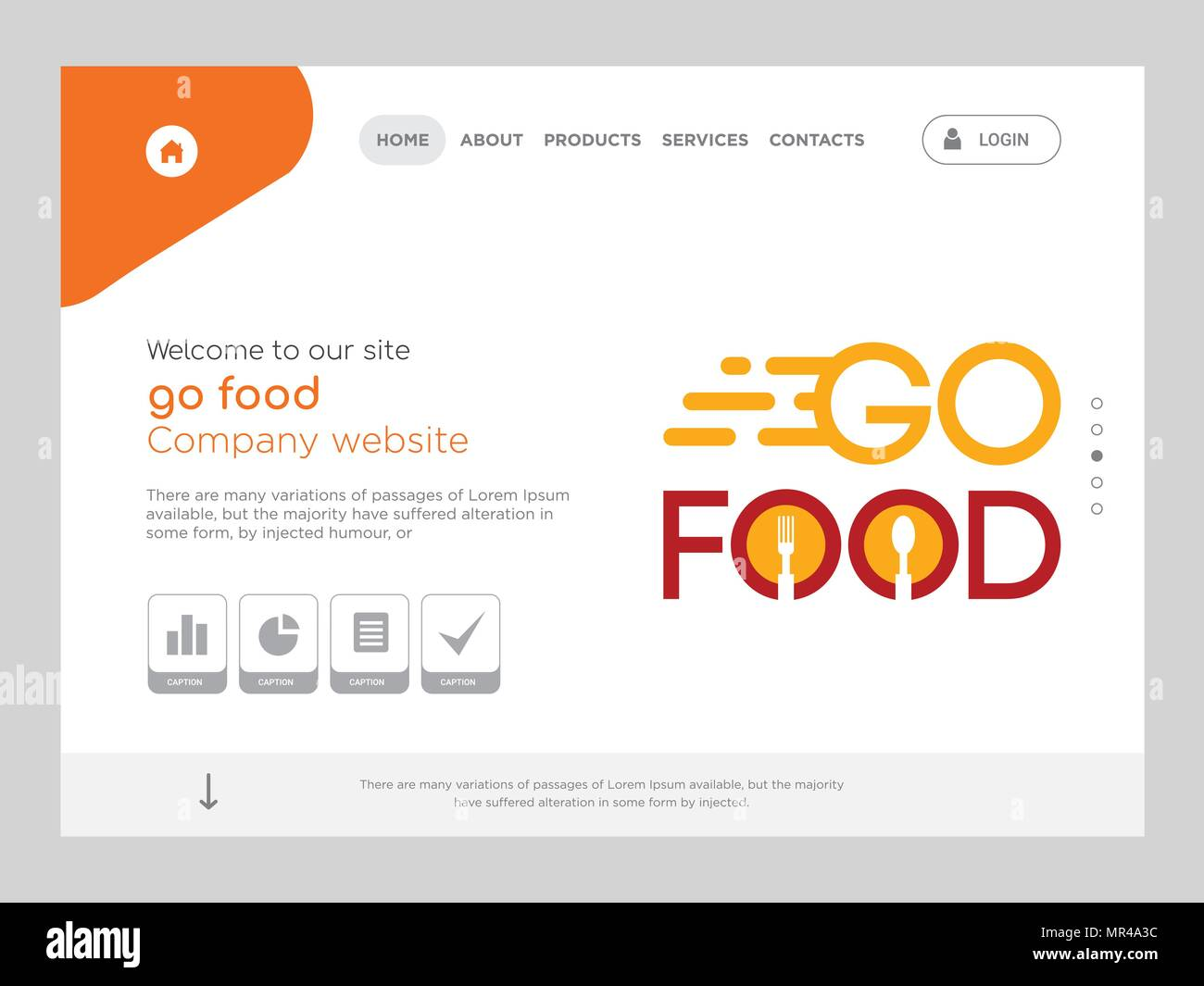 Quality One Page Go Food Website Template Vector Eps Modern Web Design With Flat Ui Elements And Landscape Illustration Ideal For Landing Page Stock Vector Image Art Alamy