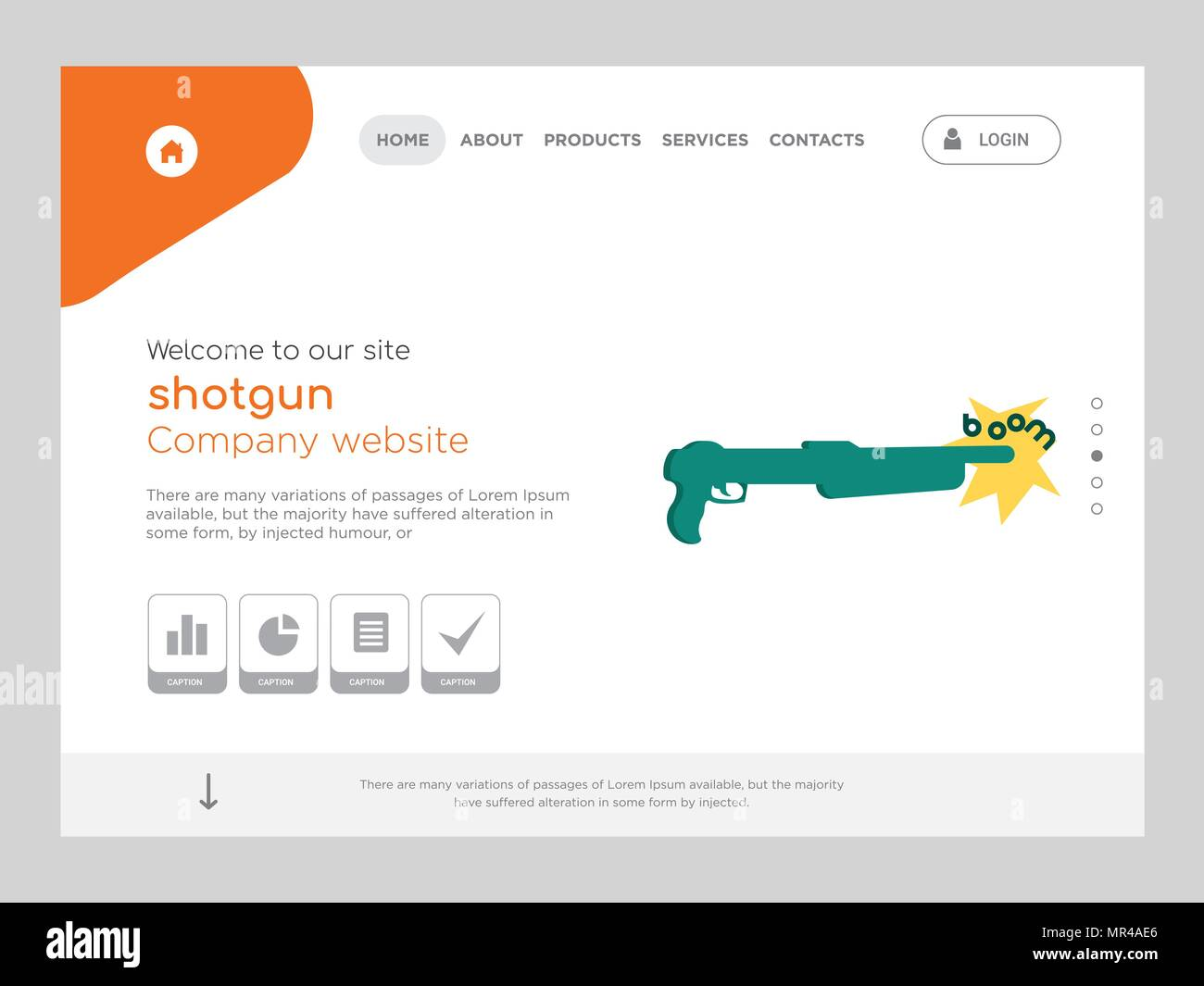 Quality One Page Shotgun Website Template Vector Eps Modern Web