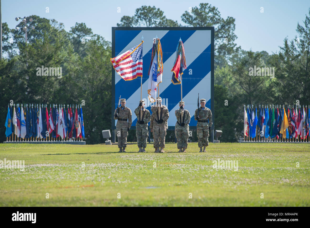 The 3rd Infantry Division color guard participates in the a division change of command ceremony held on Cotrell Field, Fort Stewart, GA, May 8, 2017. (U.S. Army Photo by Lt. Col. Brian J. Fickel) - Stock Image
