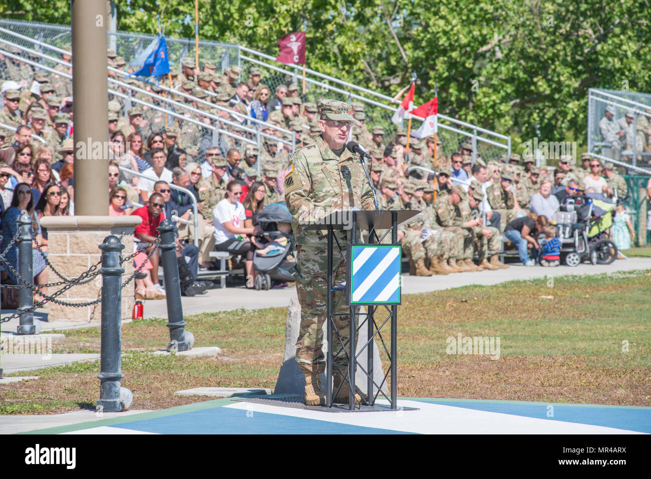 Gen. Robert Abrams, commander U.S. Forces Command, provides remarks at the 3rd Infantry Division change of command ceremony at Cotrell Field, Fort Stewart, GA, May 8, 2017. (U.S. Army Photo by Lt. Col. Brian J. Fickel) - Stock Image