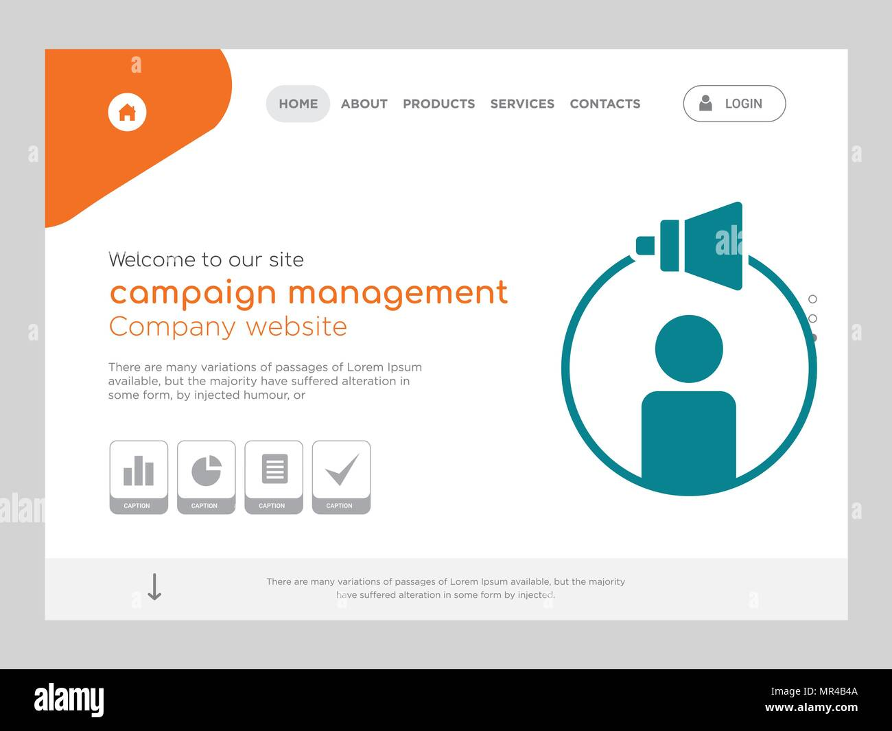 047bb3659e Quality One Page campaign management Website Template Vector Eps ...