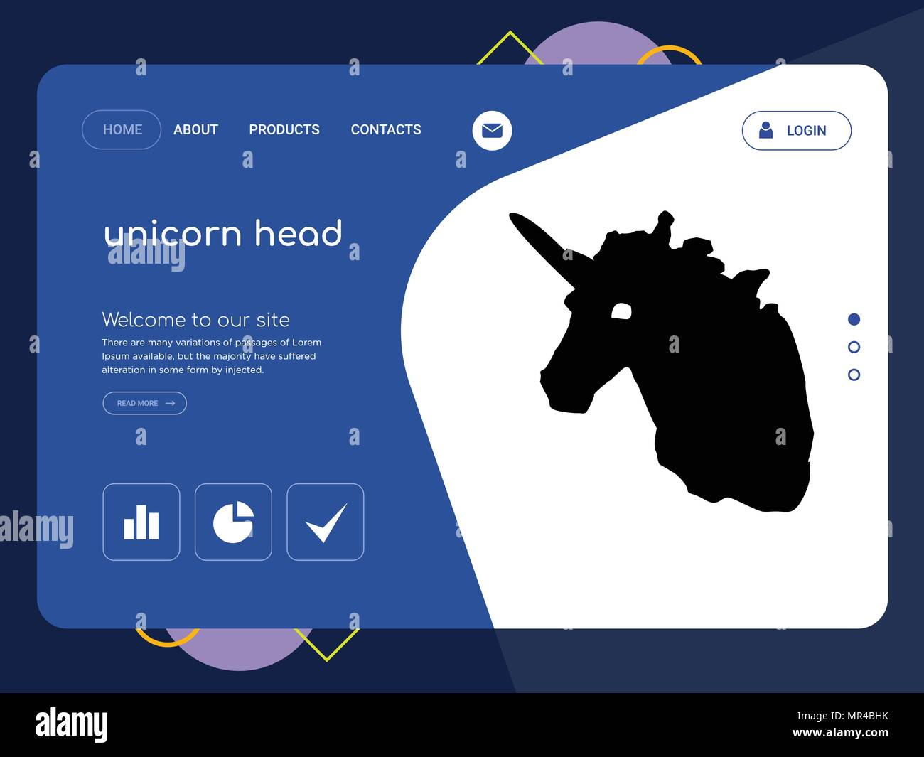 quality one page unicorn head website template vector eps modern