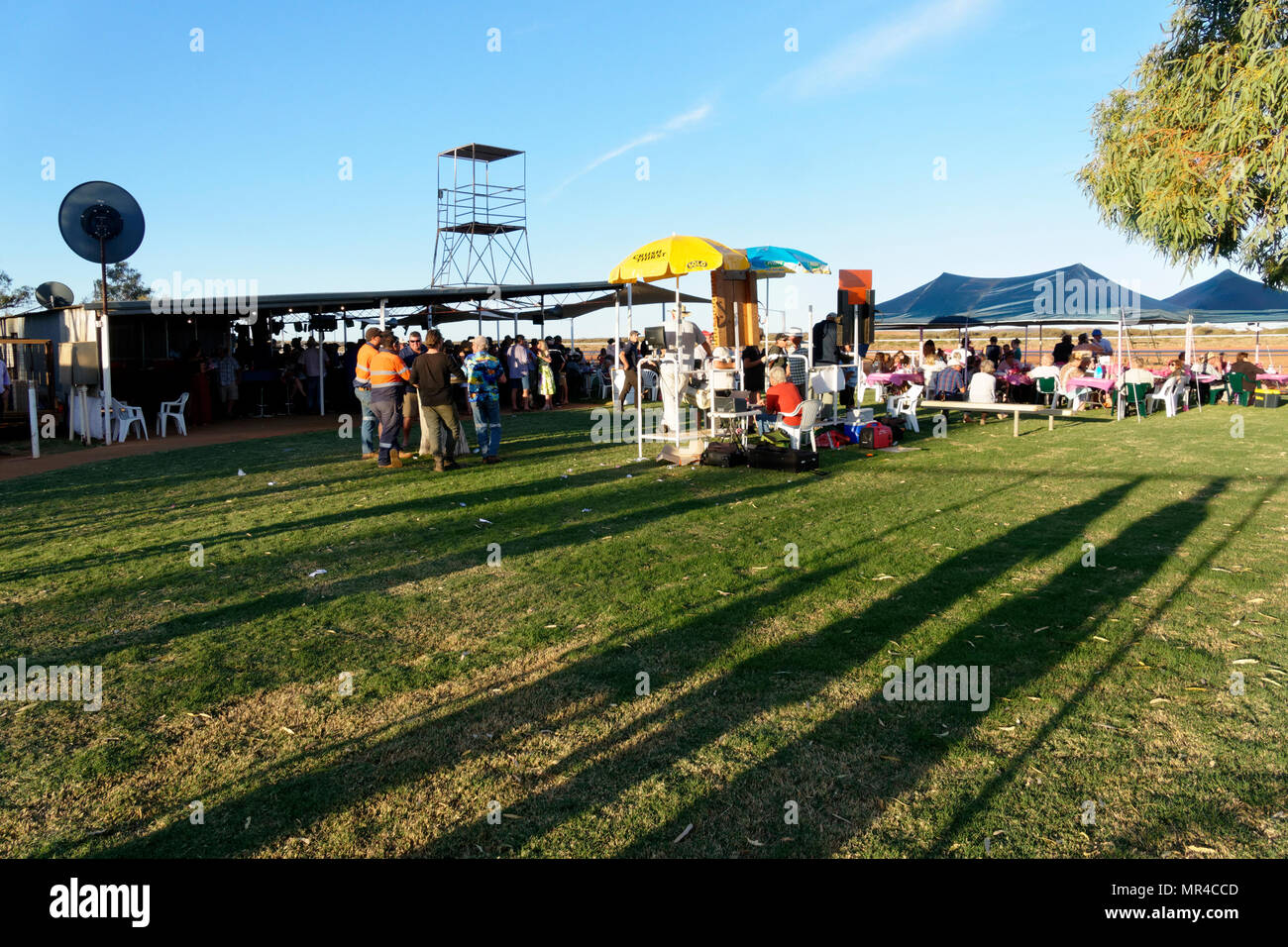 People  at the Mount Magnet horse race course, Mt Magnet, Eastern Goldfields, Western Australia - Stock Image