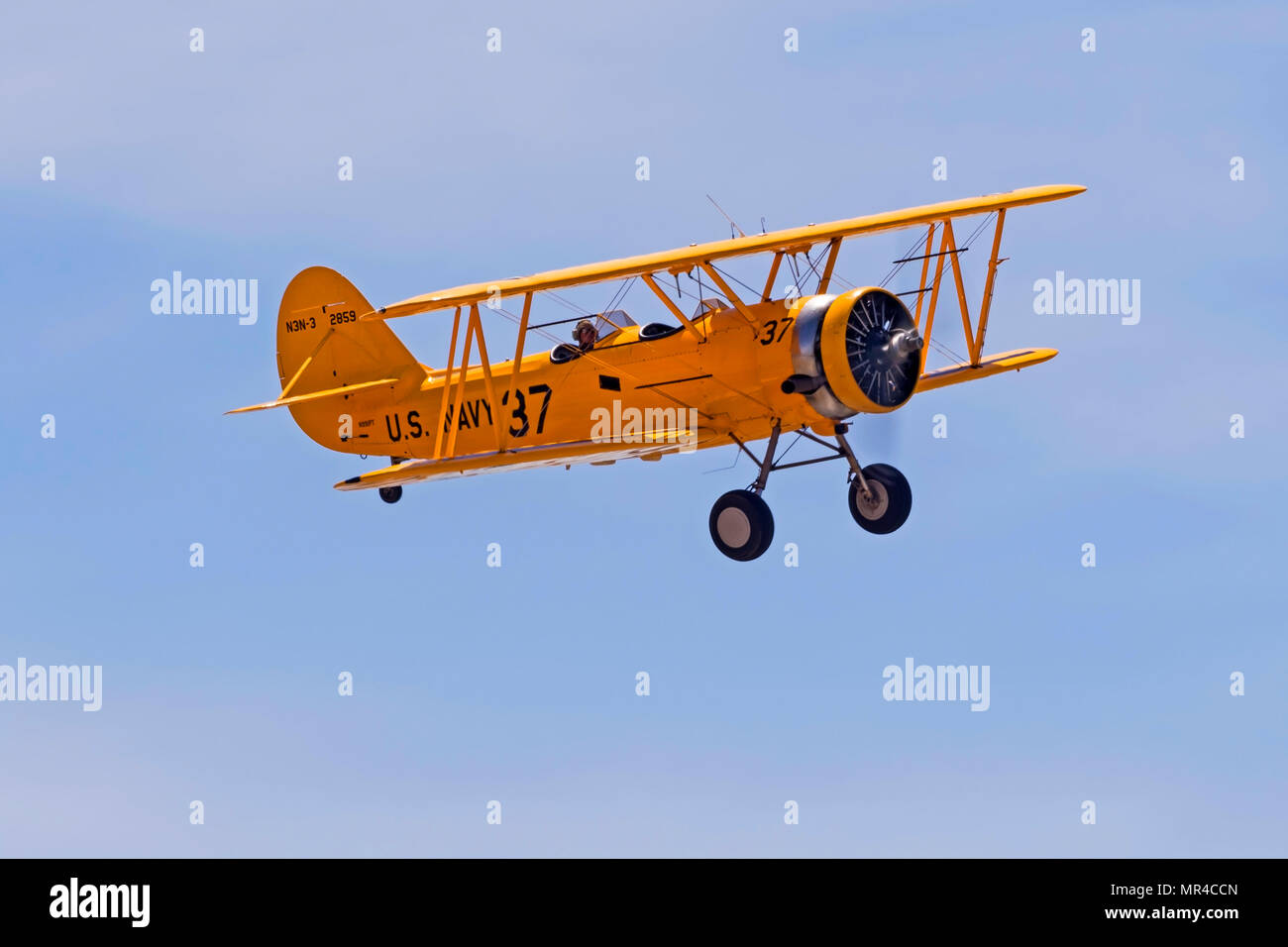 Airplane vintage WWII bi-plane at the airshow - Stock Image