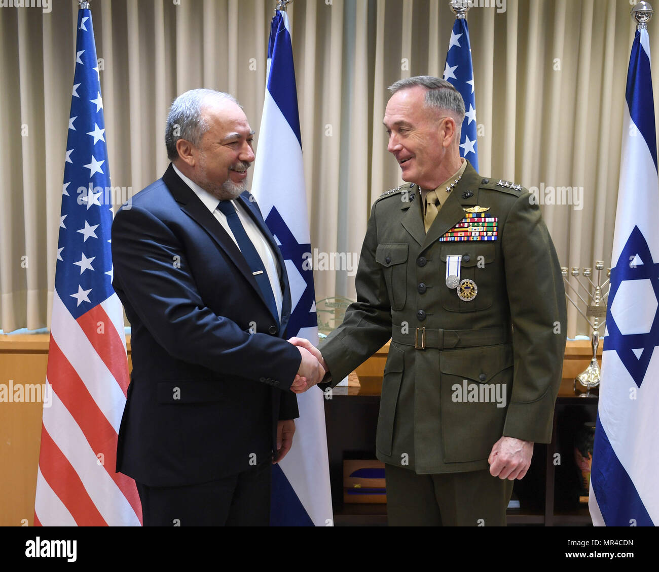 Chairman of the Joint Chiefs of Staff, General Joseph Dunford meets Israeli Minister of Defense Avigdor Lieberman, Tel Aviv, May 9, 2017. - Stock Image