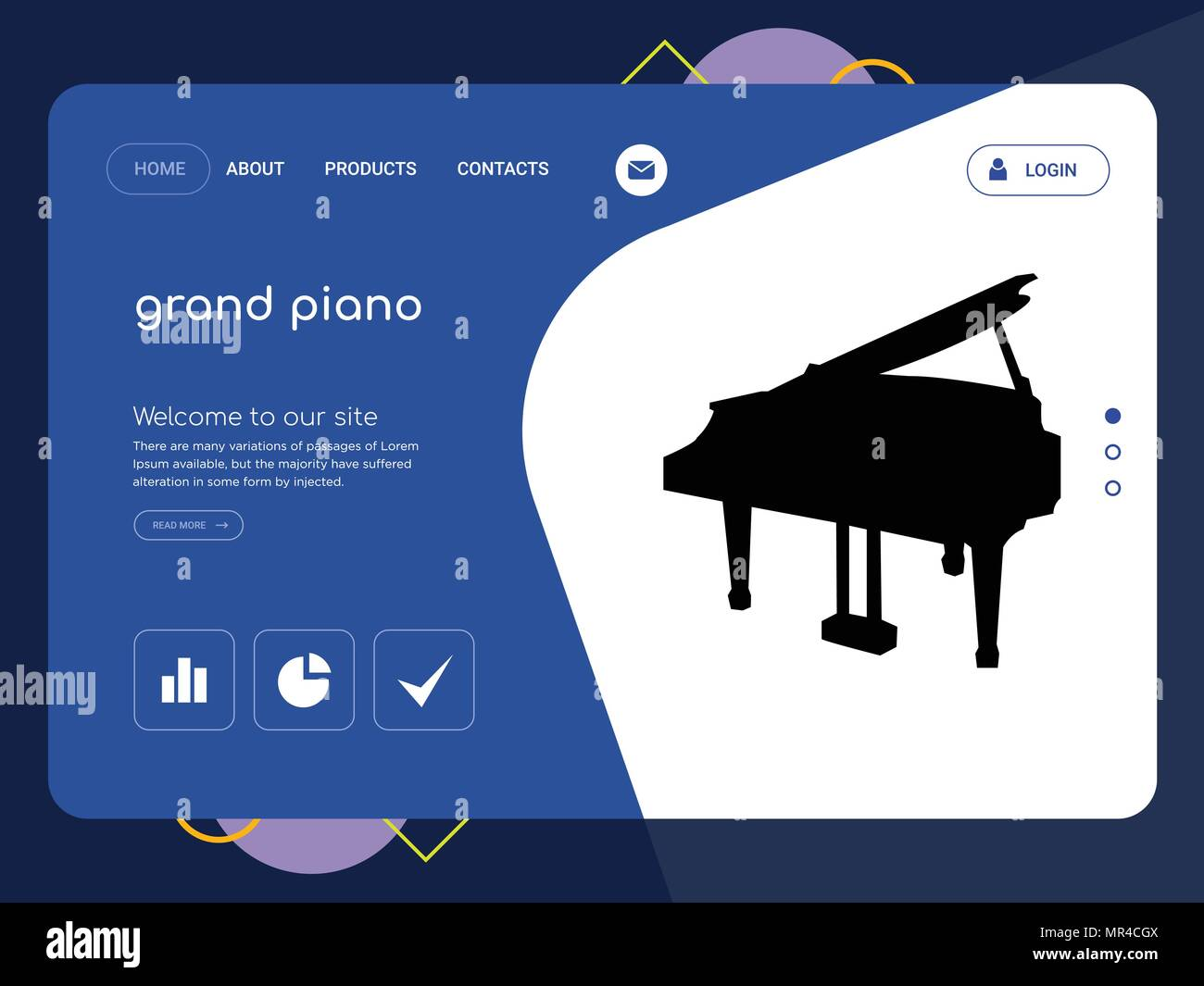 quality one page grand piano website template vector eps modern web