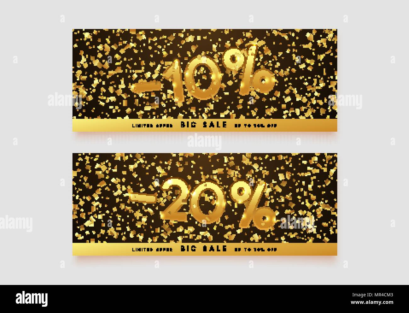 Discount Voucher Template Design With Gold Confetti Tinsel Coupon