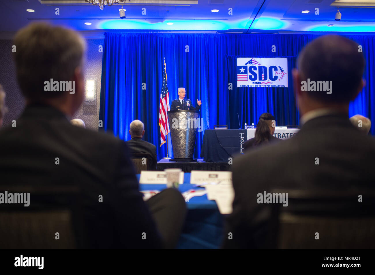 U.S. Air Force Gen. Paul J. Selva, Vice Chairman of the Joint Chiefs of Staff, delivers a keynote speech during the Strategic Deterrent Coalition (SDC) Symposium 2017 in Arlington, Va., May 9, 2017. The SDC is a nonprofit, nonpartisan community-based organization formed to support the Nuclear Triad by providing educational information on the importance to our nation of maintaining a safe, secure, and effective nuclear deterrent. (DoD Photo by U.S. Army Sgt. James K. McCann) - Stock Image