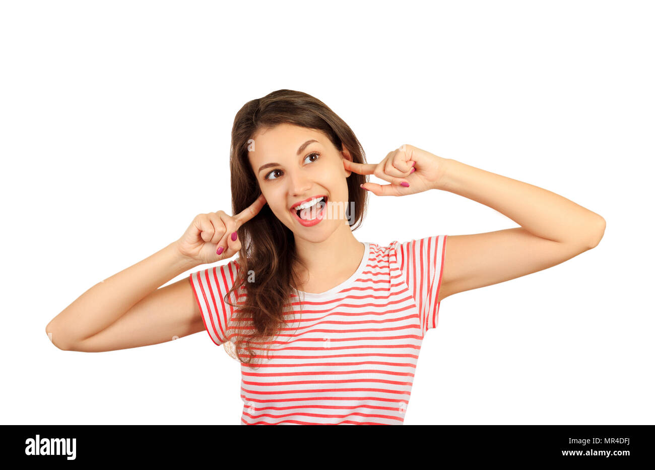 Funny goofy young woman with bug eyes grimacing, having stupid and ridiculous facial expression. emotional girl isolated on white background. - Stock Image