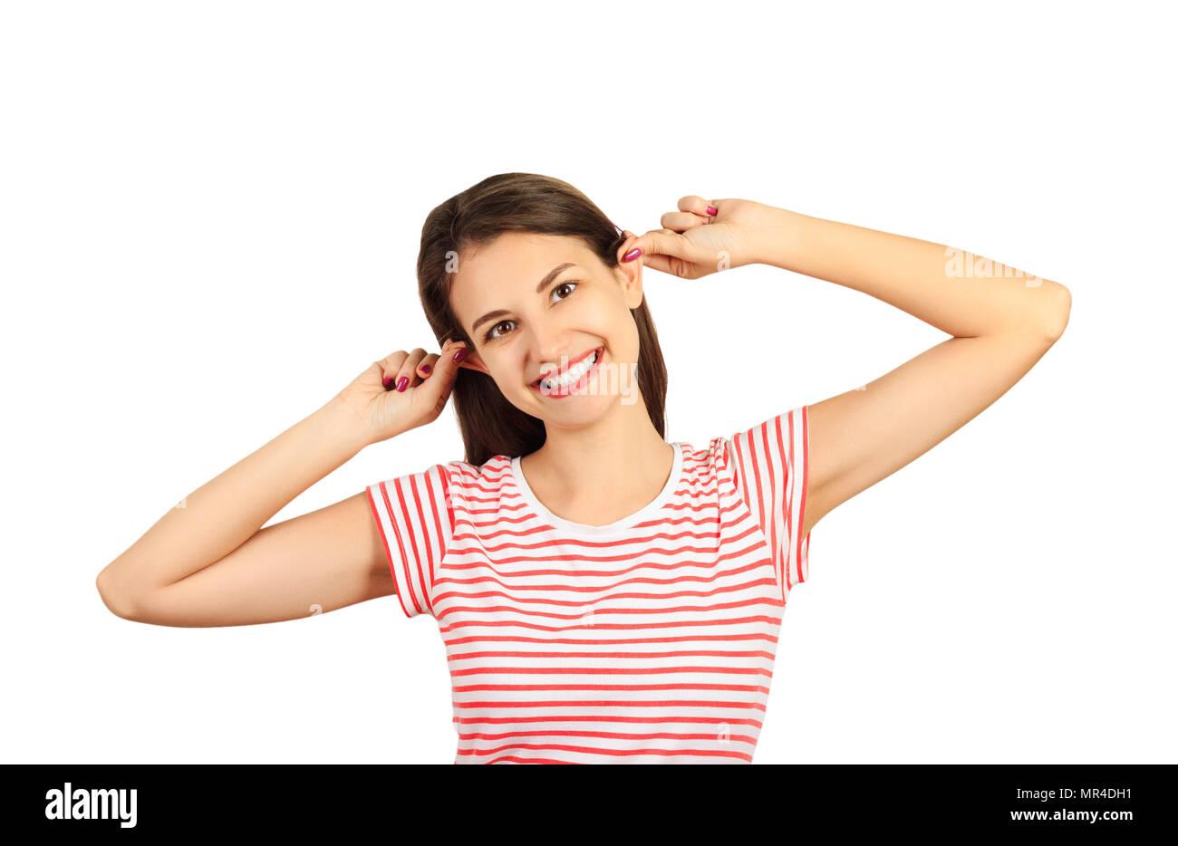 emotional girl playing posing at the camera. emotional girl isolated on white background. - Stock Image