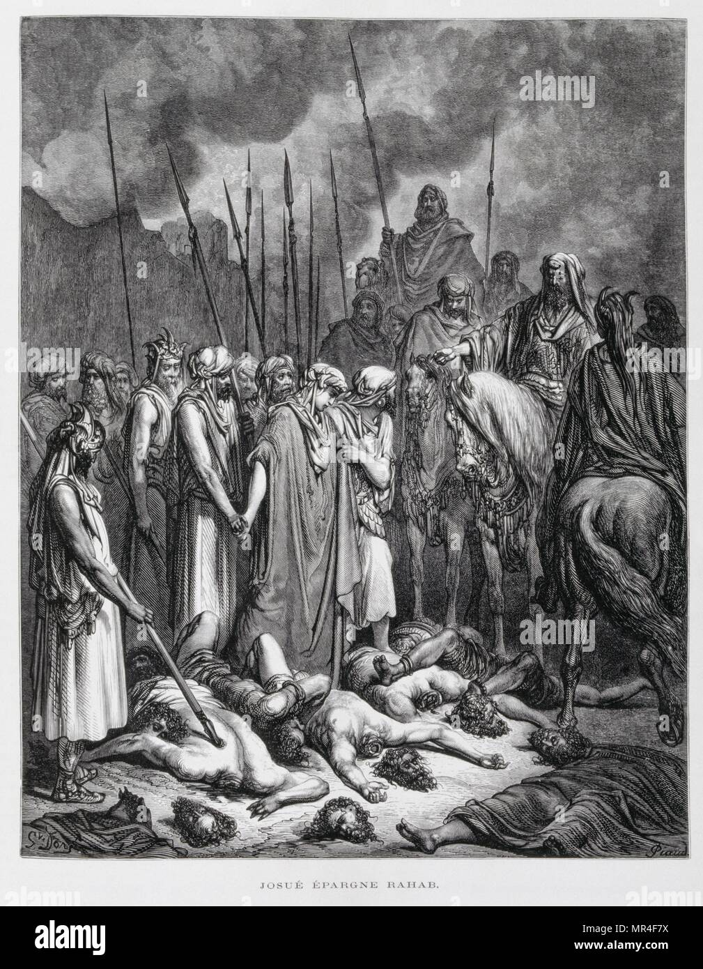 King Ahab is slain in battle by enemy archer. third book of Kings 22:34, Volume 1, Illustration from the Dore Bible 1866. In 1866, the French artist and illustrator Gustave Dore (1832–1883), published a series of 241 wood engravings for a new deluxe edition of the 1843 French translation of the Vulgate Bible, popularly known as the Bible de Tours. This new edition was known as La Grande Bible de Tours and its illustrations were immensely successful - Stock Image