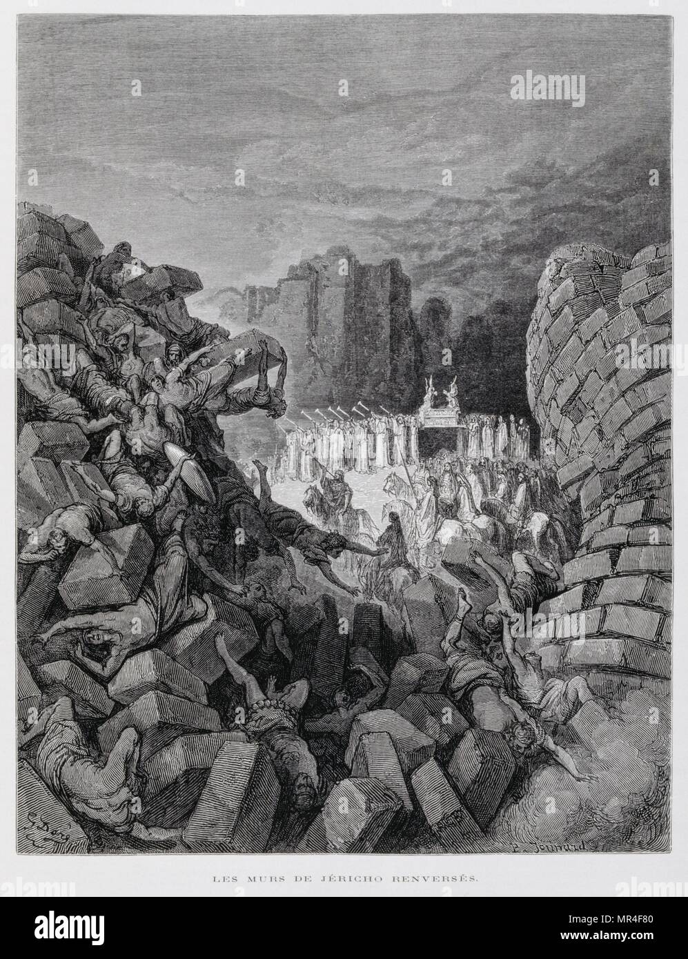 The Walls of Jericho Fall Down (Josh. 5:16, 6:1-10,13-19), Illustration from the Dore Bible 1866. In 1866, the French artist and illustrator Gustave Dore (1832–1883), published a series of 241 wood engravings for a new deluxe edition of the 1843 French translation of the Vulgate Bible, popularly known as the Bible de Tours. This new edition was known as La Grande Bible de Tours and its illustrations were immensely successful - Stock Image