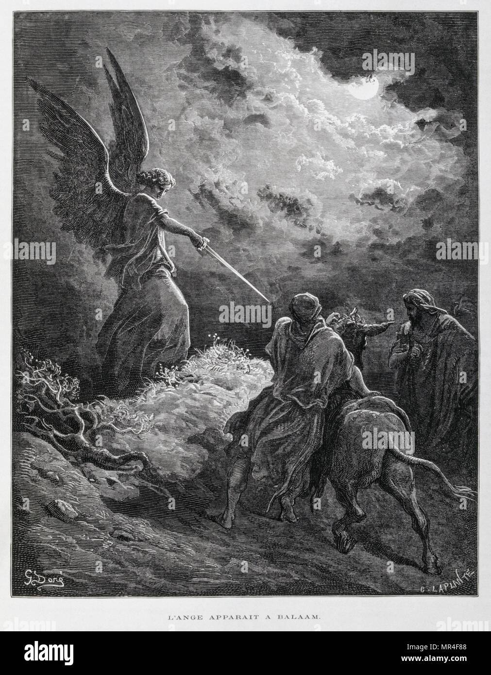 An Angel Met Balaam with a Sword, Illustration from the Dore Bible 1866. In 1866, the French artist and illustrator Gustave Dore (1832–1883), published a series of 241 wood engravings for a new deluxe edition of the 1843 French translation of the Vulgate Bible, popularly known as the Bible de Tours. This new edition was known as La Grande Bible de Tours and its illustrations were immensely successful - Stock Image