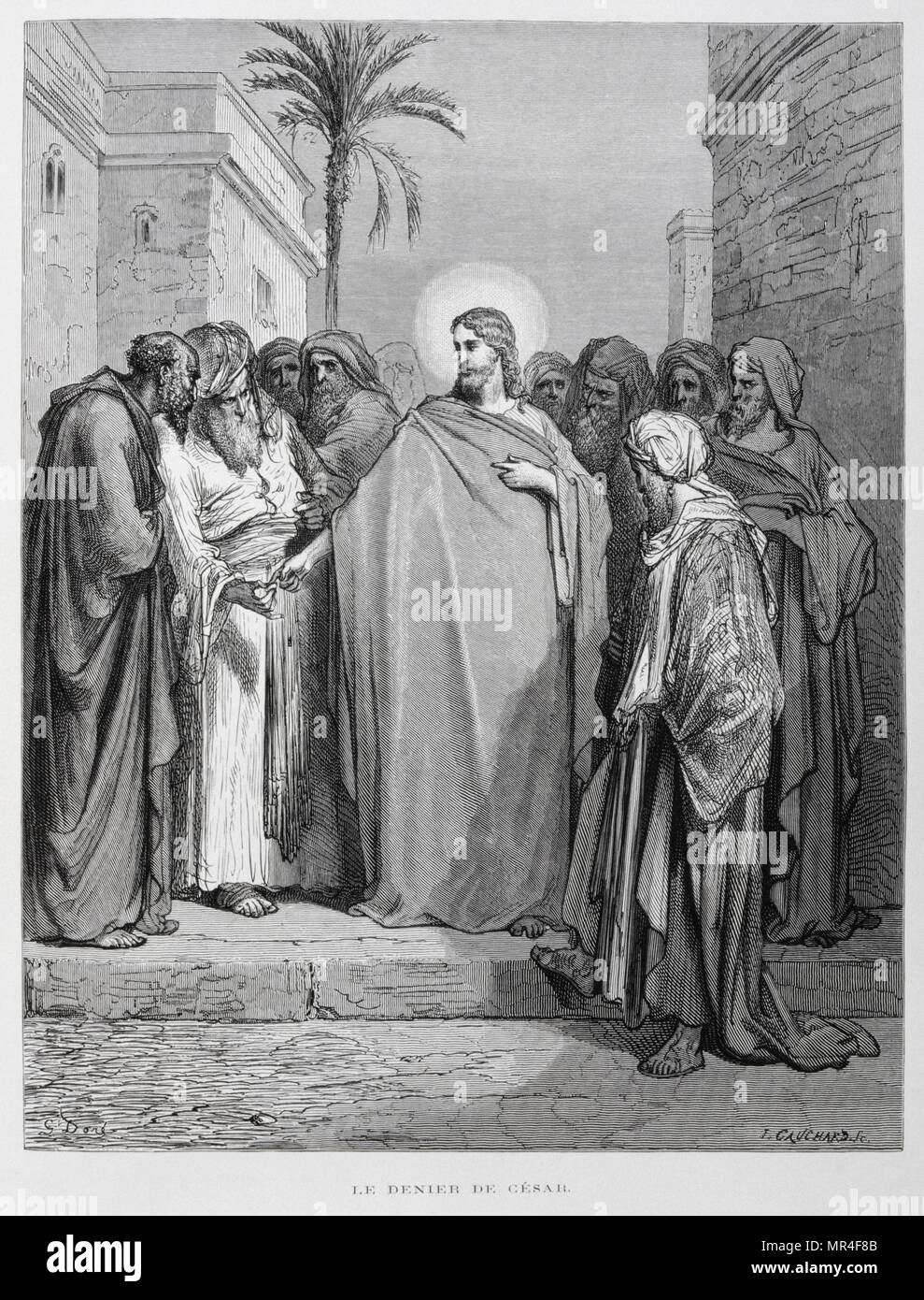 Matthew 22:15-22, Jesus Disputes with Pharisees about Tribute Money, Illustration from the Dore Bible 1866. In 1866, the French artist and illustrator Gustave Dore (1832–1883), published a series of 241 wood engravings for a new deluxe edition of the 1843 French translation of the Vulgate Bible, popularly known as the Bible de Tours. This new edition was known as La Grande Bible de Tours and its illustrations were immensely successful - Stock Image