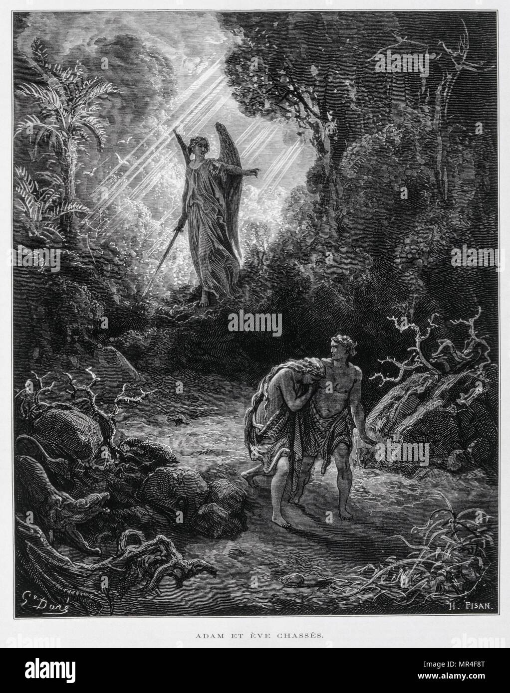 Adam and Eve banished from the Garden of Eden by an angel, Illustration from the Dore Bible 1866. In 1866, the French artist and illustrator Gustave Dore (1832–1883), published a series of 241 wood engravings for a new deluxe edition of the 1843 French translation of the Vulgate Bible, popularly known as the Bible de Tours. This new edition was known as La Grande Bible de Tours and its illustrations were immensely successful Stock Photo