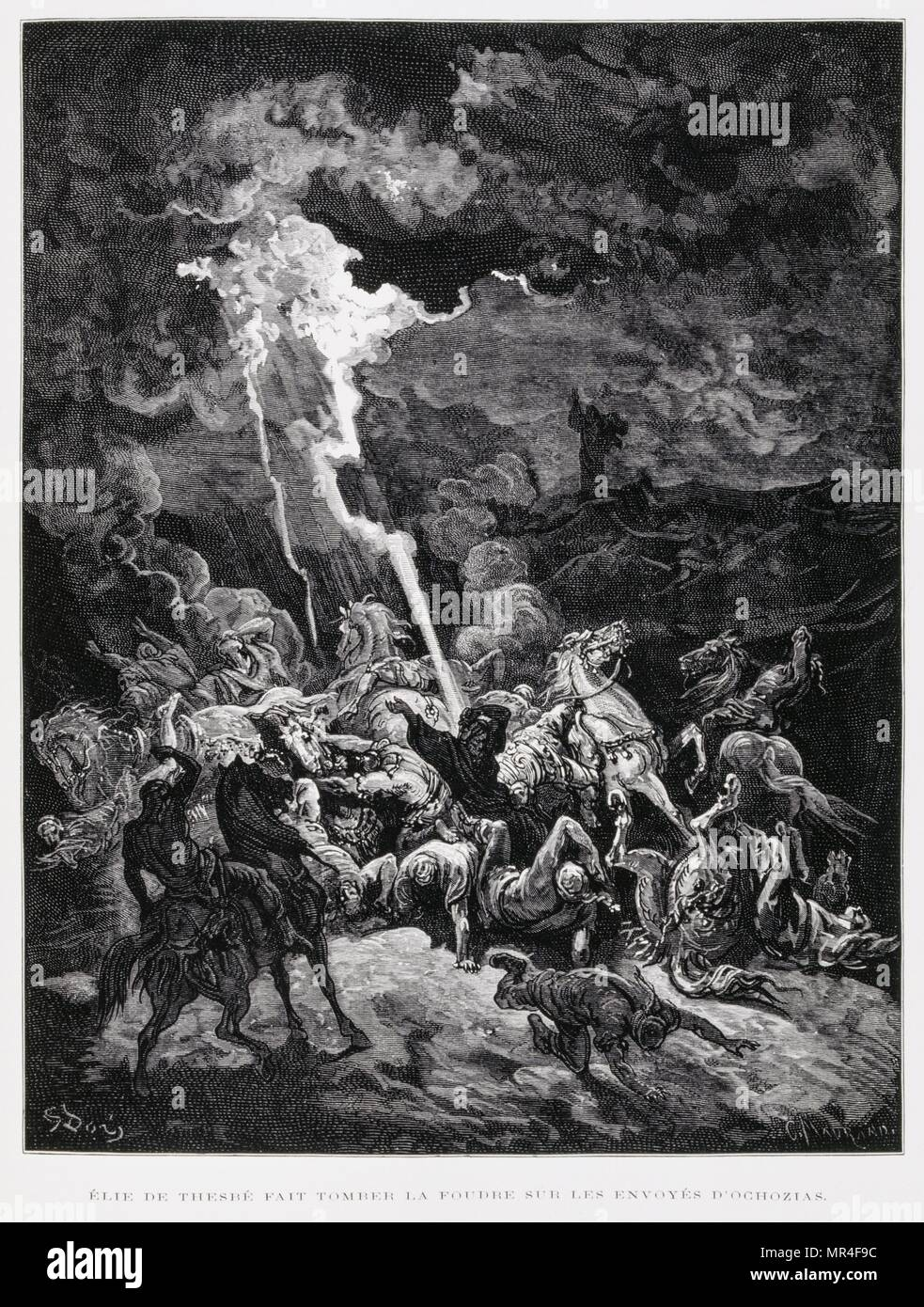 Elijah destroys the messengers of Ahaziah, Illustration from the Dore Bible 1866. In 1866, the French artist and illustrator Gustave Dore (1832–1883), published a series of 241 wood engravings for a new deluxe edition of the 1843 French translation of the Vulgate Bible, popularly known as the Bible de Tours. This new edition was known as La Grande Bible de Tours and its illustrations were immensely successful - Stock Image