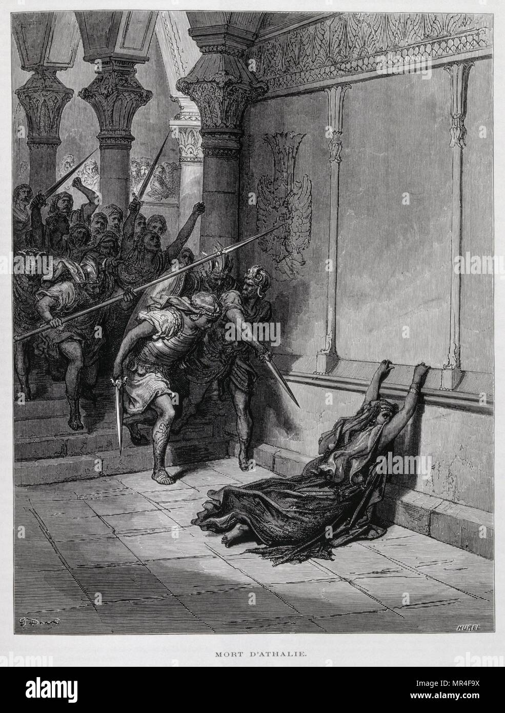 The death of Athalie, from the Second book of Chronicles 23, Illustration from the Dore Bible 1866. In 1866, the French artist and illustrator Gustave Dore (1832–1883), published a series of 241 wood engravings for a new deluxe edition of the 1843 French translation of the Vulgate Bible, popularly known as the Bible de Tours. This new edition was known as La Grande Bible de Tours and its illustrations were immensely successful. Athaliah queen consort of Judah as the wife of King Jehoram, a descendant of King David, and later queen regnant c.841–835 B.C. - Stock Image