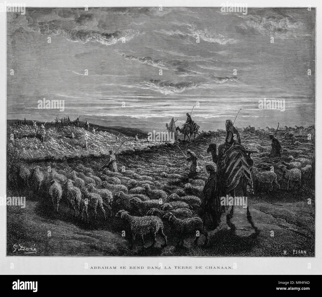 abraham enters the land of canaan illustration from the dore bible