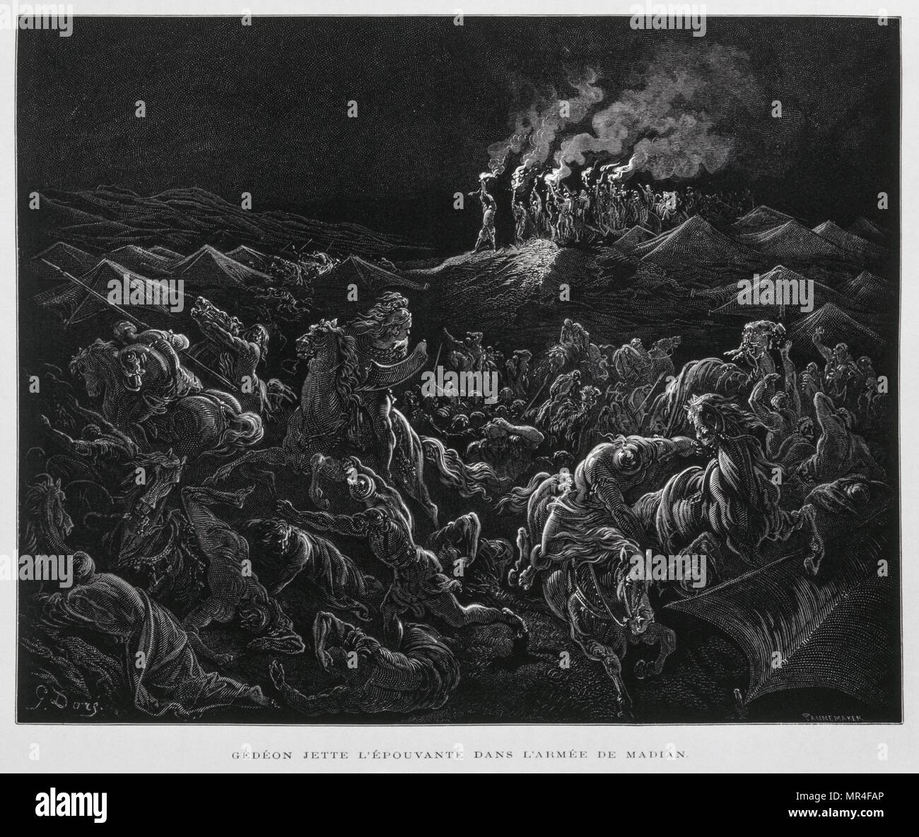 Gideon attacks the Midianites at night, Illustration from the Dore Bible 1866. In 1866, the French artist and illustrator Gustave Dore (1832-1883), published a series of 241 wood engravings for a new deluxe edition of the 1843 French translation of the Vulgate Bible, popularly known as the Bible de Tours. This new edition was known as La Grande Bible de Tours and its illustrations were immensely successful - Stock Image
