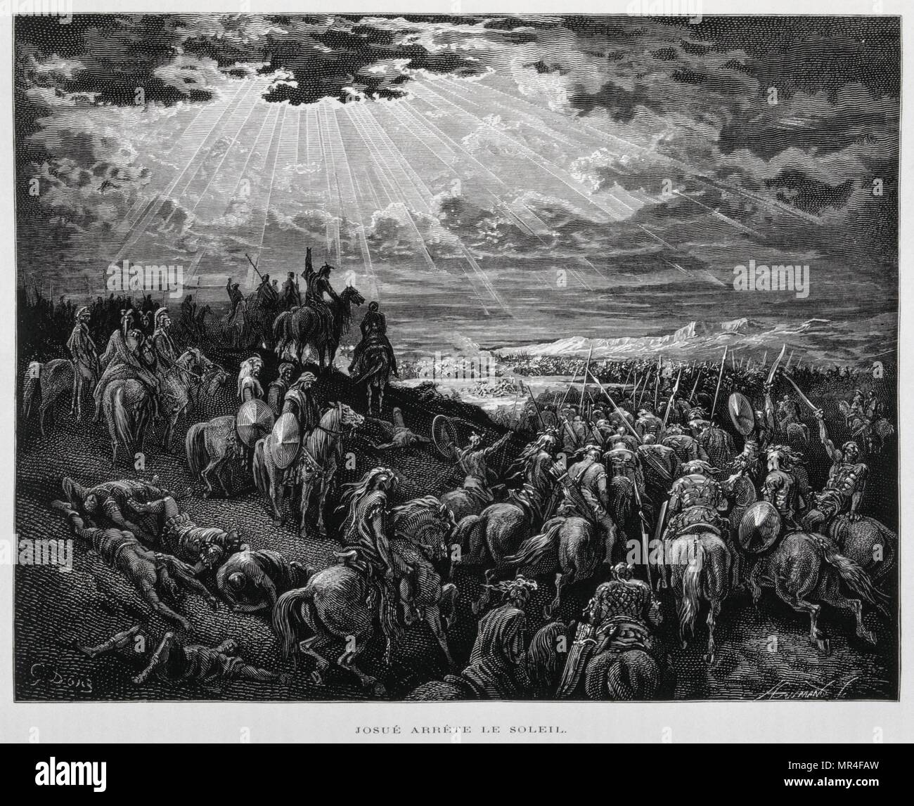 Joshua makes the sun stand still, Illustration from the Dore Bible 1866. In 1866, French artist & illustrator Gustave Dore (1832–1883) published a series of 241 wood engravings for a new deluxe edition of the 1843 French translation of the Vulgate Bible, popularly known as Bible de Tours. The new edition was known as La Grande Bible de Tours & its illustrations were immensely successful. Joshua said to the Lord in the presence of Israel 'O sun, stand still over Gibeon, O moon, over the Valley of Aijalon.' So the sun stood still & the moon stopped, till the nation avenged itself on its enemies - Stock Image