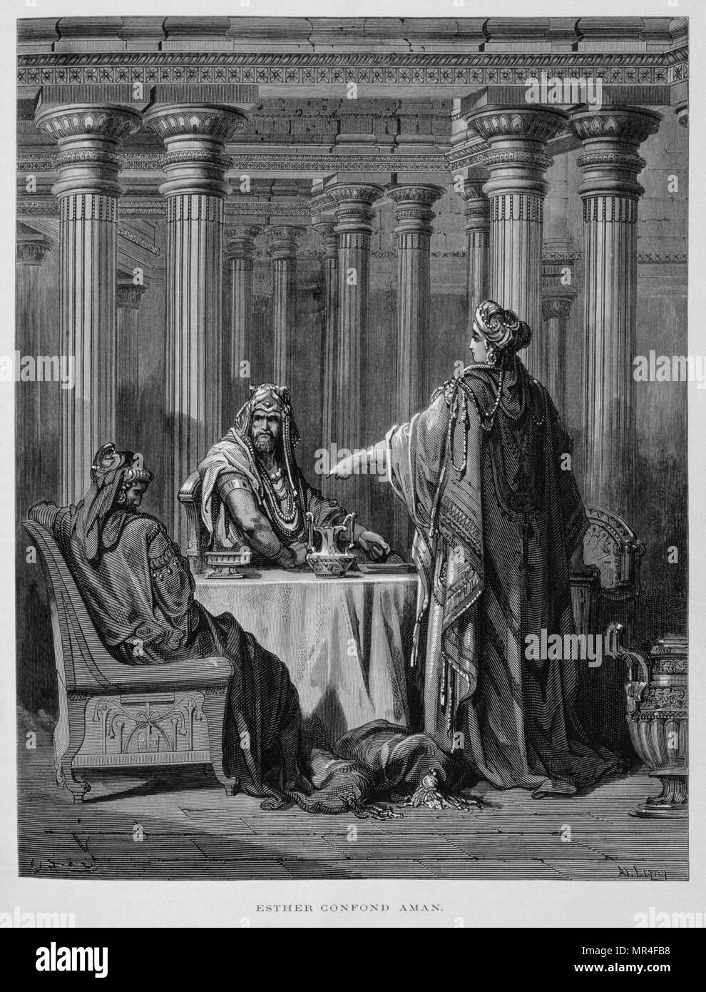 Haman denounced by Queen Esther, Illustration from the Dore Bible 1866. In 1866, the French artist and illustrator Gustave Dore (1832–1883), published a series of 241 wood engravings for a new deluxe edition of the 1843 French translation of the Vulgate Bible, popularly known as the Bible de Tours. This new edition was known as La Grande Bible de Tours and its illustrations were immensely successful. - Stock Image