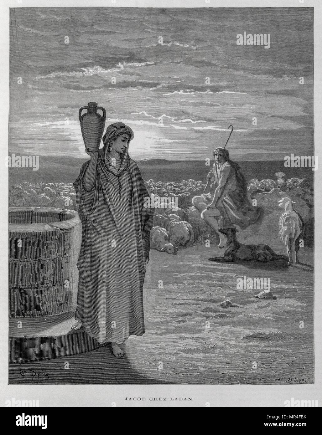 Jacob sees Rachel at the well of Laban's home, Illustration from the Dore Bible 1866. In 1866, the French artist and illustrator Gustave Dore (1832–1883), published a series of 241 wood engravings for a new deluxe edition of the 1843 French translation of the Vulgate Bible, popularly known as the Bible de Tours. This new edition was known as La Grande Bible de Tours and its illustrations were immensely successful. Jacob came to work for Laban. Laban was more than 30 years older than Jacob, and employed him for 20 years. - Stock Image